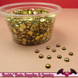 200 pcs 4 mm GOLD Tone HALF PEARL Flatbacks / Decoden Half Pearls - Rockin Resin  - 2