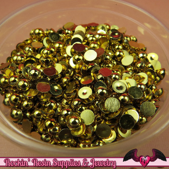 200 pcs 4 mm GOLD Tone HALF PEARL Flatbacks / Decoden Half Pearls - Rockin Resin  - 1