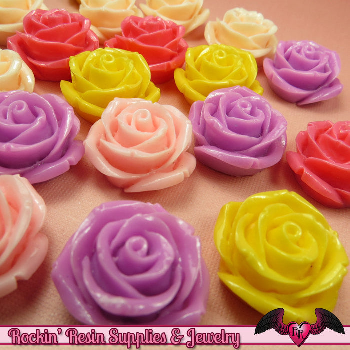 5 pcs 23mm ROSES Resin Flower Cabochons / Decoden Flatback Cabochon