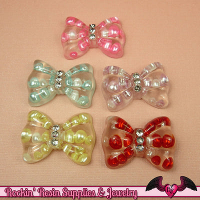 5 pc PEARL BOWS with CRYSTALS Resin Decoden Flatback Kawaii Cabochons 34x24mm - Rockin Resin  - 1