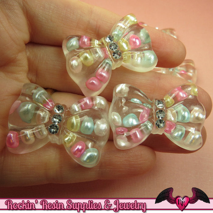 5 pc Pastel PEARL BOWS with CRYSTALS Resin Decoden Flatback Kawaii Cabochons 34x24mm - Rockin Resin  - 1