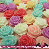 10 pcs 14mm ROSES Resin Flower Cabochons / Decoden Flatback Cabochon - Rockin Resin  - 1