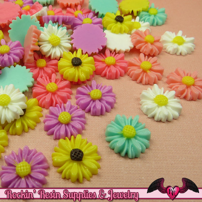 10 pcs 13mm DAISY Resin Flower Cabochons / Decoden Flatback Cabochon