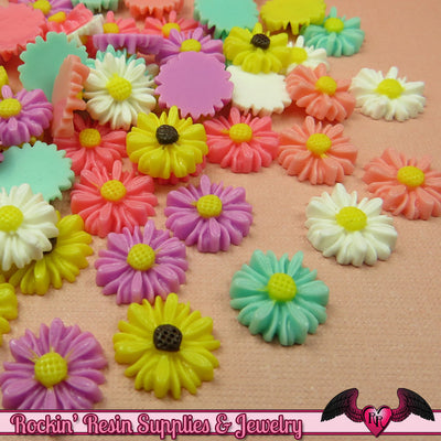 10 pcs 13mm DAISY Resin Flower Cabochons / Decoden Flatback Cabochon - Rockin Resin  - 1