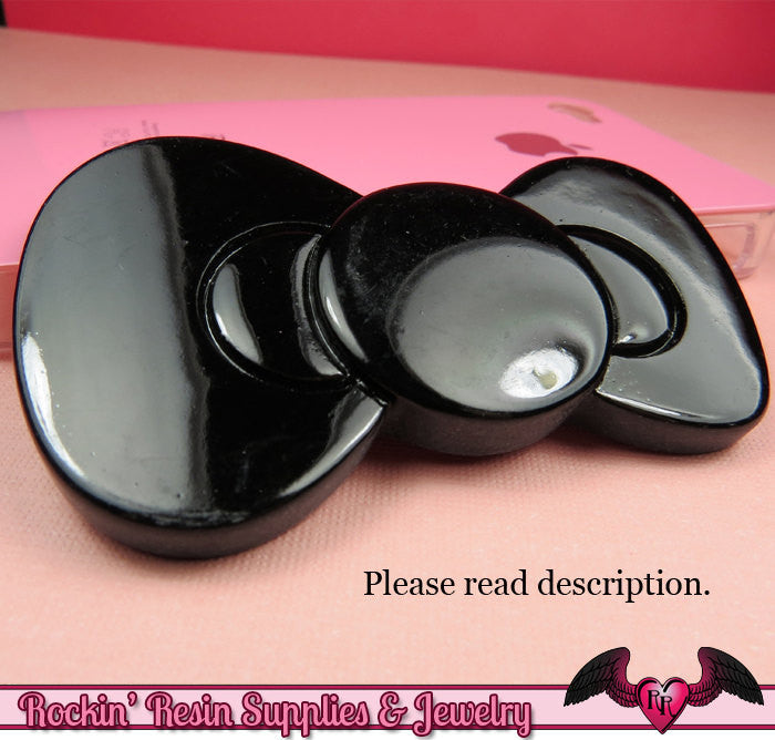 2pc HUGE 80mm KAWAII BOW Black Decoden Resin Kawaii Cabochons 80x45mm