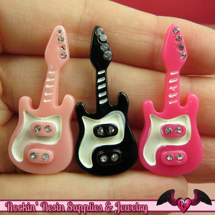 4 pcs ELECTRIC GUITARS Resin Decoden Flatback Cabochons 37x16mm