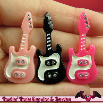 4 pcs ELECTRIC GUITARS Resin Decoden Flatback Cabochons 37x16mm - Rockin Resin