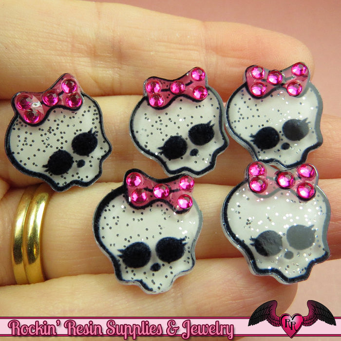 5 pc Glitter SKULL HEAD with Bling BOW Kawaii Flatback Decoden Cabochons 20x17mm