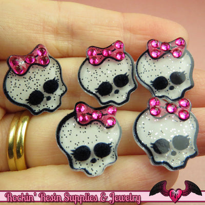 5 pc Glitter SKULL HEAD with Bling BOW Kawaii Flatback Decoden Cabochons 20x17mm - Rockin Resin