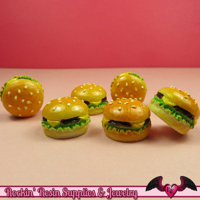 5 pc HAMBURGER Resin Flatback Kawaii Cabochons 18mm