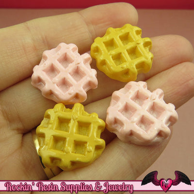 6 pc WAFFLE Resin Flatback Decoden Kawaii Cabochons 23mm - Rockin Resin