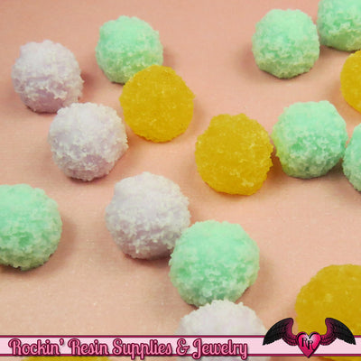 6 pc Faux COCONUT BALLS Mini Sweets Resin Decoden Flatback Kawaii Cabochons 13mm - Rockin Resin