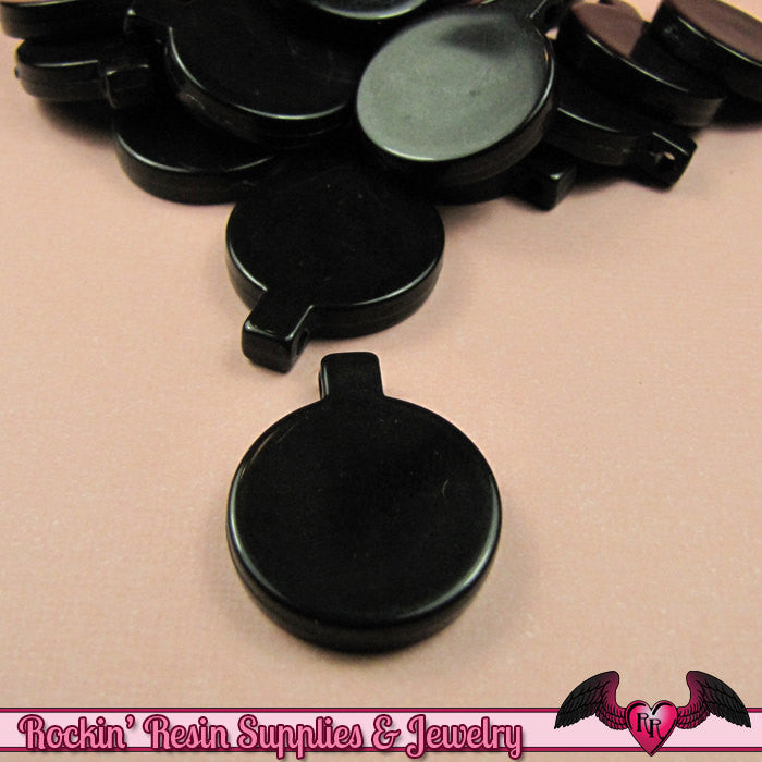 14 pcs PENDANT BLANKS Base Black Resin Round Decoden Pendant Blanks