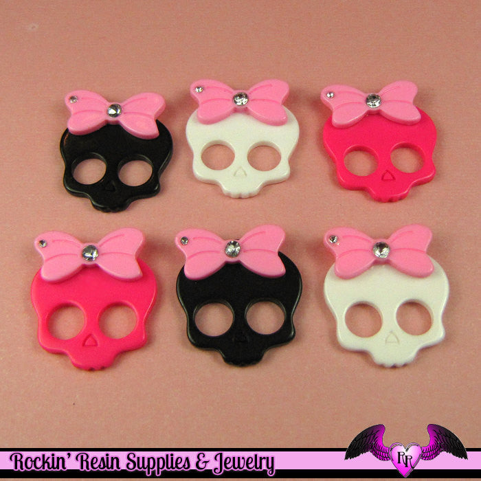 4 Pcs SKULL HEAD with Pink BOW and Crystals  Decoden Kawaii Cabochons