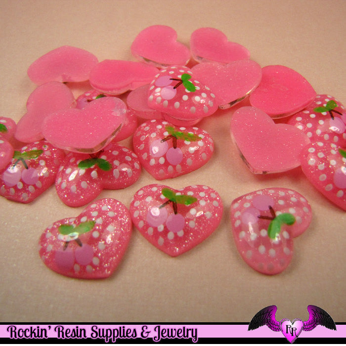6 pcs CHERRY HEART Decoden Flatback Resin Kawaii Cabochons 18x15mm