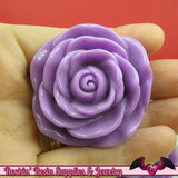 JUMBO ROSE BEADS 48mm Lavender Purple Chunky Beads Large Rose Beads (2 Pieces) - Rockin Resin  - 1
