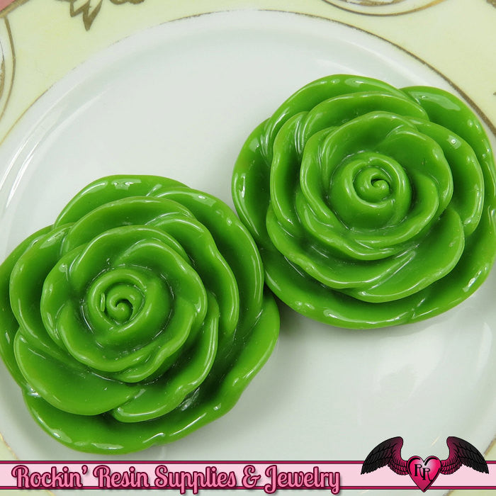 JUMBO ROSE BEADS 48mm Apple Green Chunky Beads Large Rose Beads (2 Pieces)