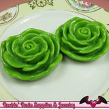 JUMBO ROSE BEADS 48mm Apple Green Chunky Beads Large Rose Beads (2 Pieces) - Rockin Resin  - 2