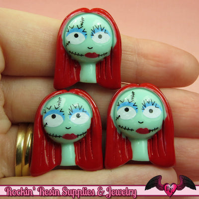 4 pc SALLY NIGHTMARE Halloween Decoden Flatback Kawaii Cabochon Cellphone Decoration - Rockin Resin  - 1
