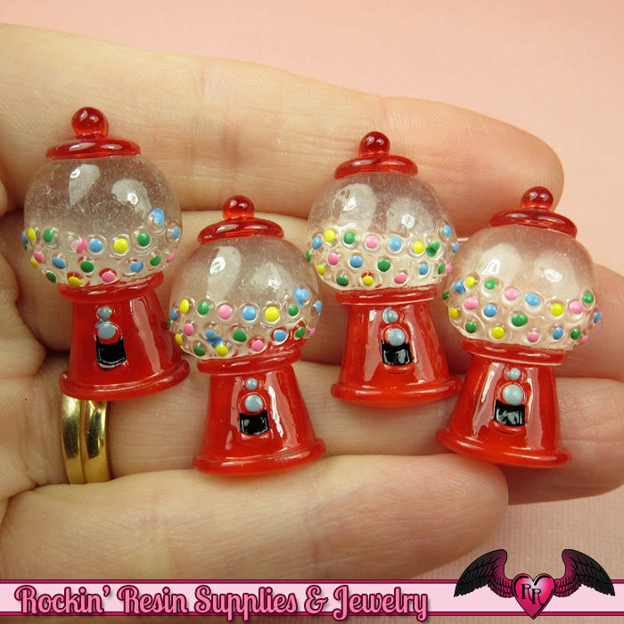 5 pcs Red GUMBALL MACHINE Resin Decoden Flatback Kawaii Cabochons 30x16mm