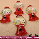 5 pcs Red GUMBALL MACHINE Resin Decoden Flatback Kawaii Cabochons 30x16mm - Rockin Resin  - 3