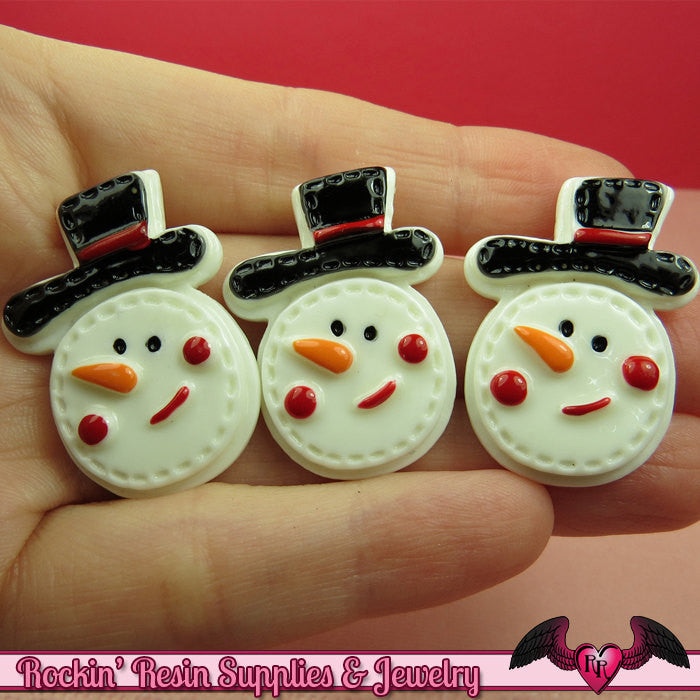 4 pcs SNOWMAN Christmas Holiday Resin Flatback Decoden Cabochons  33x24mm - Rockin Resin  - 1