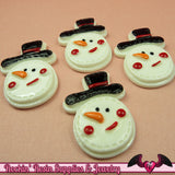 4 pcs SNOWMAN Christmas Holiday Resin Flatback Decoden Cabochons  33x24mm - Rockin Resin  - 2
