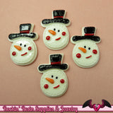 4 pcs SNOWMAN Christmas Holiday Resin Flatback Decoden Cabochons  33x24mm - Rockin Resin  - 3