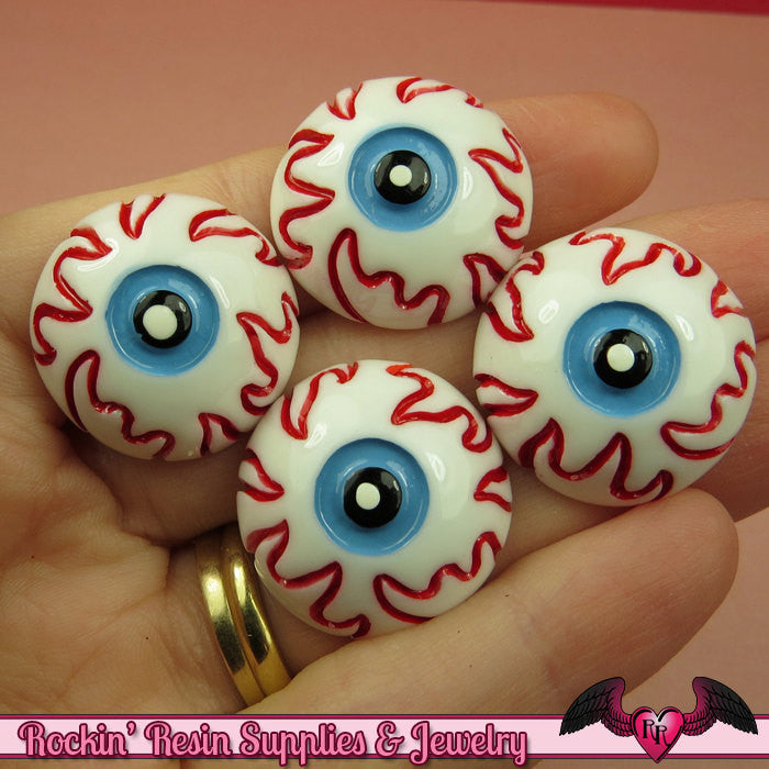 4 pc EYE BALL Halloween Decoden Flatback Kawaii Cabochons 24mm
