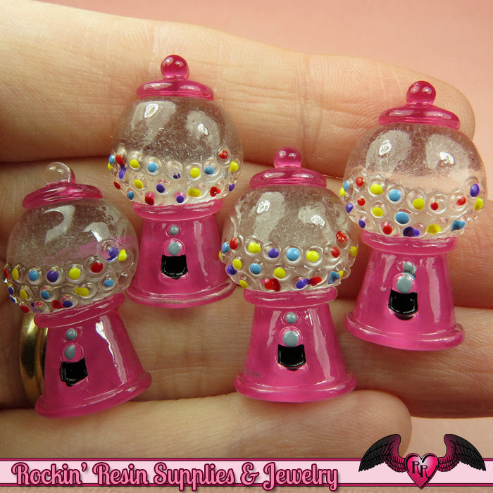 5 pcs PINK GUMBALL MACHINE Resin Decoden Flatback Kawaii Cabochons 30x16mm