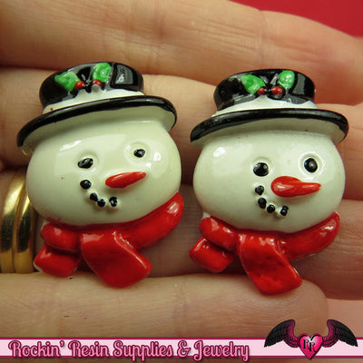 4pc SNOWMAN Christmas Holiday Resin Flatback Kawaii Cabochons - Rockin Resin