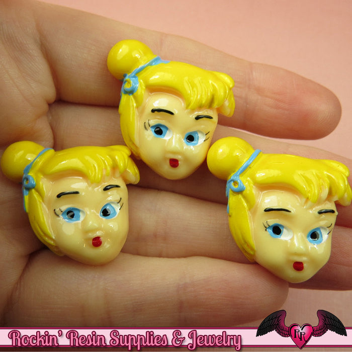 4 pc BLONDE FAIRY Cartoon Girl Resin Flatback Decoden Kawaii Cabochons 28x28mm