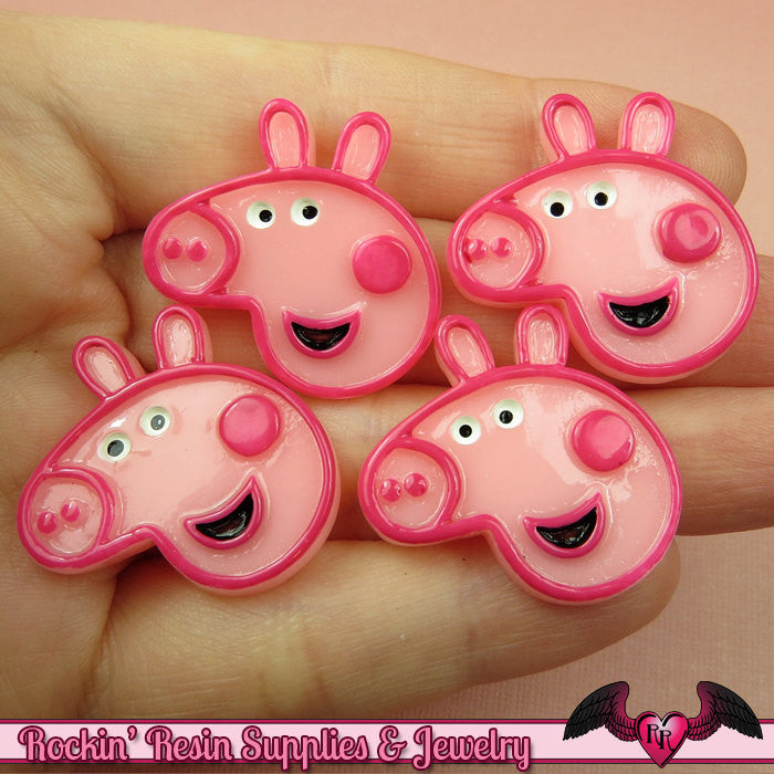 4 pc PINK PIG Cartoon Resin Flatback Decoden Kawaii Cabochons 27x28mm - Rockin Resin  - 1