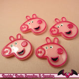 4 pc PINK PIG Cartoon Resin Flatback Decoden Kawaii Cabochons 27x28mm - Rockin Resin  - 2