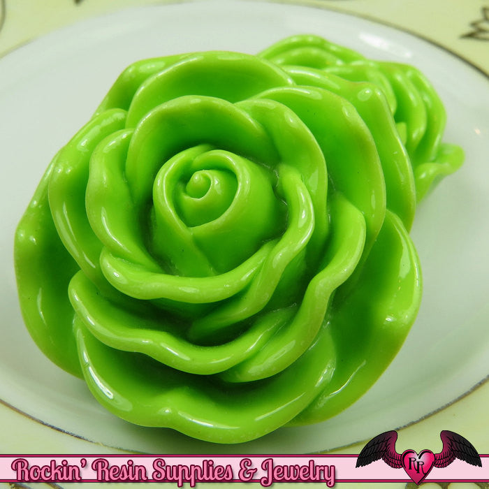 JUMBO ROSE BEADS 45mm Lime Green Chunky Beads Large Rose Beads (2 Pieces)