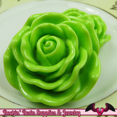JUMBO ROSE BEADS 45mm Lime Green Chunky Beads Large Rose Beads (2 Pieces) - Rockin Resin  - 1