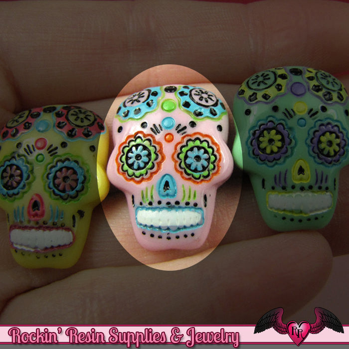 3 pc Pink SUGAR SKULL Day of The Dead Flatback Decoden Cabochons 20x17mm - Rockin Resin