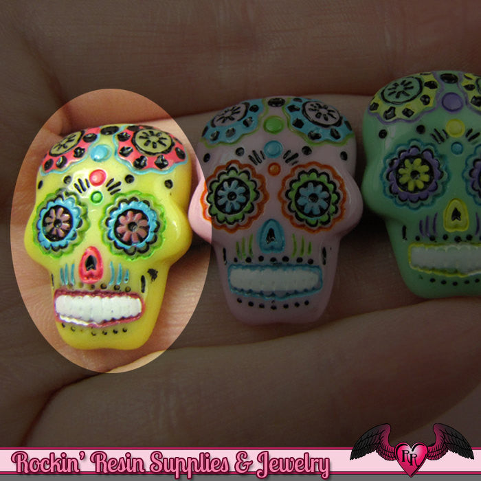 3 pc Yellow SUGAR SKULL Day of The Dead Flatback Decoden Cabochons 20x17mm - Rockin Resin