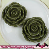 JUMBO ROSE BEADS 45mm Hunter Green Chunky Beads Large Rose Beads (2 Pieces) - Rockin Resin  - 1