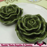 JUMBO ROSE BEADS 45mm Hunter Green Chunky Beads Large Rose Beads (2 Pieces) - Rockin Resin  - 2