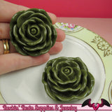 JUMBO ROSE BEADS 45mm Hunter Green Chunky Beads Large Rose Beads (2 Pieces) - Rockin Resin  - 3