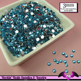 3mm OCEAN BLUE RHINESTONES Flatback Great Quality / Decoden Crystal Phone Deco (300 pieces) - Rockin Resin  - 2