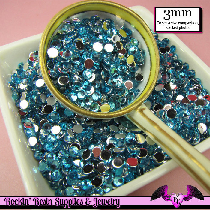 3mm OCEAN BLUE RHINESTONES Flatback Great Quality / Decoden Crystal Phone Deco (300 pieces) - Rockin Resin  - 1