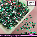 3mm EMERALD GREEN RHINESTONES Flatback Great Quality / Decoden Crystal Phone Deco (300 pieces) - Rockin Resin  - 2
