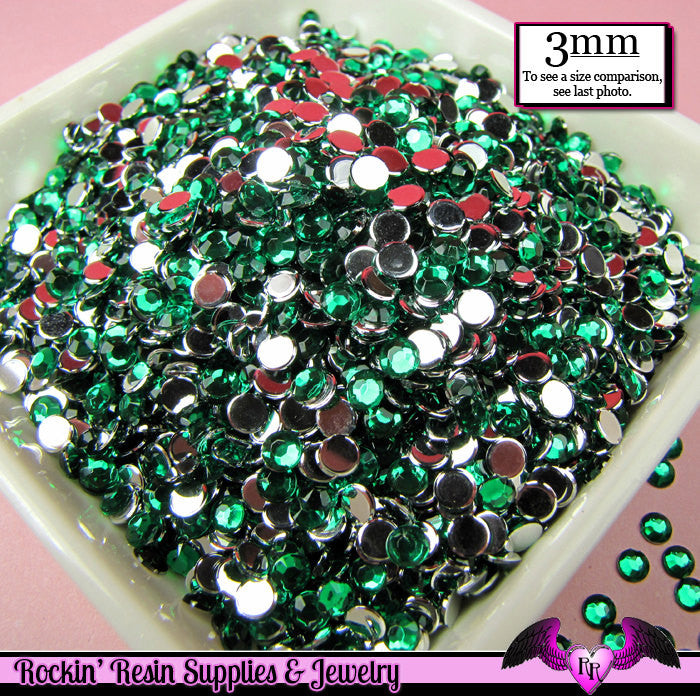 3mm EMERALD GREEN RHINESTONES Flatback Great Quality / Decoden Crystal Phone Deco (300 pieces) - Rockin Resin  - 1