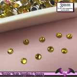 3mm YELLOW RHINESTONES Flatback Great Quality / Decoden Crystal Phone Deco (300 pieces) - Rockin Resin  - 2