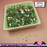 3mm LIGHT GREEN RHINESTONES Flatback Great Quality / Decoden Crystal Phone Deco (300 pieces) - Rockin Resin  - 2