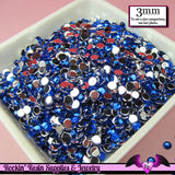 3mm DARK BLUE RHINESTONES Flatback Great Quality / Decoden Crystal Phone Deco (300 pieces) - Rockin Resin  - 2