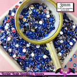3mm DARK BLUE RHINESTONES Flatback Great Quality / Decoden Crystal Phone Deco (300 pieces) - Rockin Resin  - 1