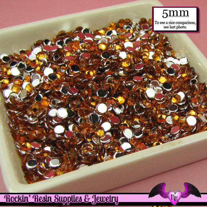 200 pcs 5mm ORANGE RHINESTONES Flatback Great Quality / Decoden Crystal Phone Deco